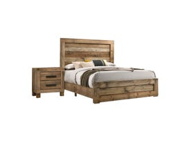 L-Style Furniture Leroy Series Queen Bed & Nightstand in Antique Natural C120960A