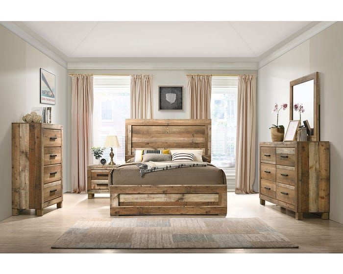 L-Style Furniture Leroy Series 6pc Queen Bedroom Set in Antique Natural  C120960A