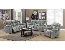 LEEFU Fabric Reclining Sofa Set in Grey UPH8104