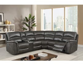 Kwality Louisiana 6pc Power Reclining Sectional with Console in Grey 8299A