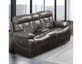 Pelican Series Leather Air Reclining Loveseat w/Console in Dark Brown 70250