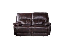Flair Bradstreet Collection Leather Power Reclining Loveseat in Grape