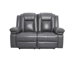 ZHEFU Leather Air Reclining Loveseat in Grey M66226