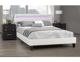 Brassex Dhara Platform Bed w/LED Lighting in White LX688