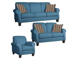Décor-Rest Joey Sky Collection Fabric 3Pc Sofa Set in Magical Turquois/Jolly Red 2025