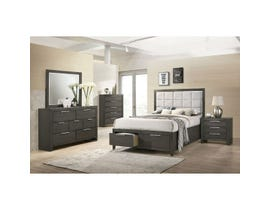 High Society Malika Series 6pc Upholstered Storage Bedroom Set in Charcoal MK350