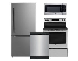 GE Frigidaire Moffat 4pc Appliance Package in Stainless Steel MBE19DSNKSS JCB630SKSS FFCD2413US JVM2162SMSS