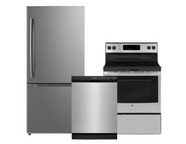 GE Frigidaire Moffat 3pc Appliance Package in Stainless Steel MBE19DSNKSS JCB630SKSS FFCD2413US