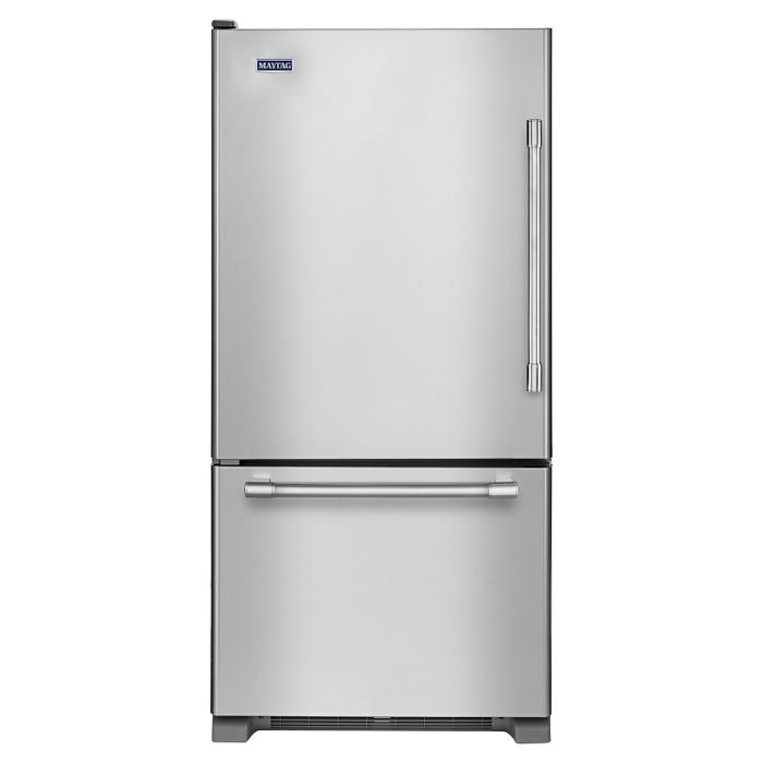 Maytag 30 inch 18.7 cu.ft. bottom freezer refrigerator in stainless steel MBL1957FEZ