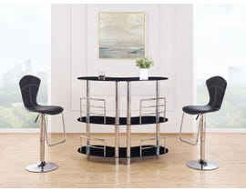 Global Furniture Black Bar Table With Two Glass Shelves