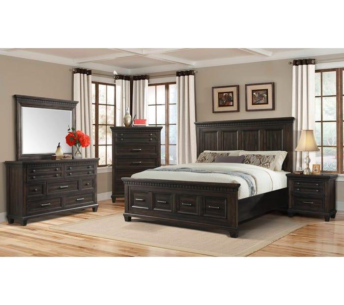 McCabe Collection 6-piece King Storage Bedroom Set in Smokey Gray Oak MB600K