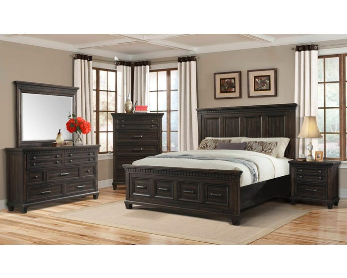 High Society McCabe Series 6pc Queen Storage Bedroom Set in Smokey Gray Oak  MB600