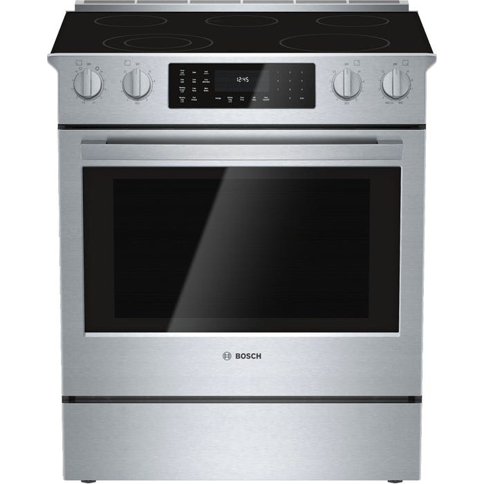 Bosch 30 inch 4.6 Cu. Ft. Easy Clean Slide-In Smooth Top Electric Range in Stainless Steel HEI8054C