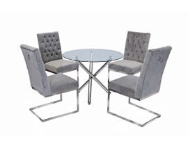 K-Living Logan 5pcs Round Glass and Chrome Base Dining Table with Tufted Velvet Chairs in Grey MEG811-GR