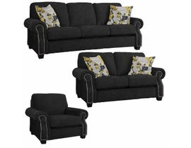 Decor-Rest Rico Collection 3Pc Fabric Sofa Set in Mellow Black/ Blossom Yellow 2279