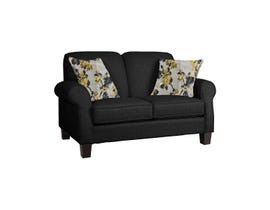Décor-Rest Joey Sky Collection Fabric Loveseat in Mellow Black/Forsyntia Yellow 2025