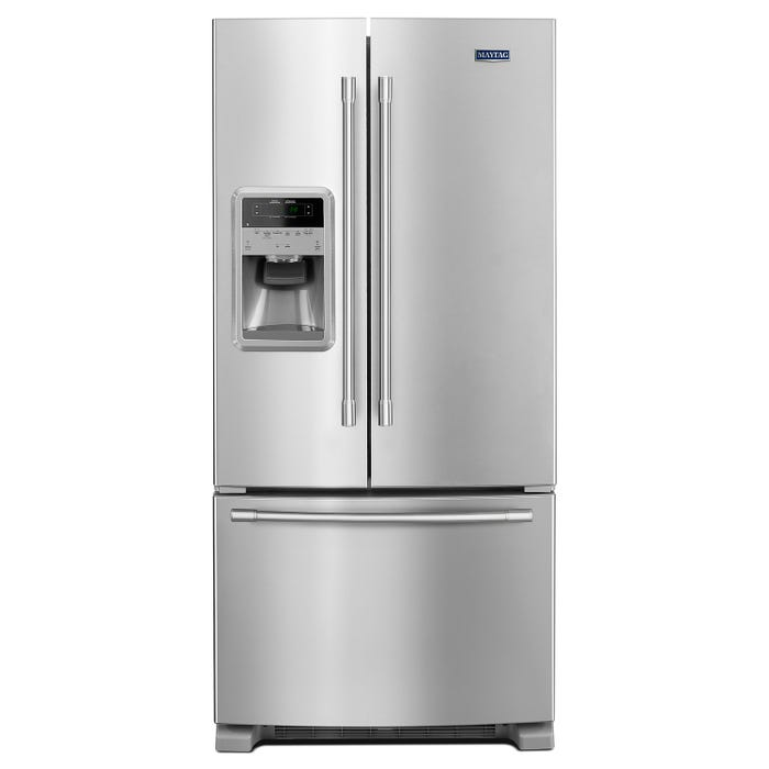 Maytag 33 Inch Wide 22 cu.ft. French Door Refrigerator in stainless steel MFI2269FRZ