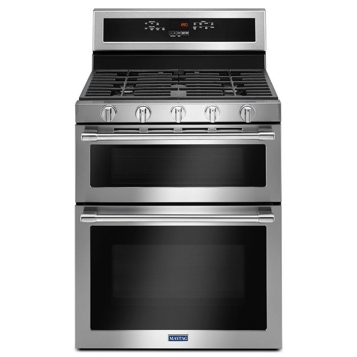 Maytag 30 inch 6.0 cu.ft. True convection dual oven gas range in stainless steel MGT8800FZ