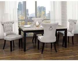 K-Living Vegas 5pc Set Marble Top and Espresso Finished Legs Dining Table with Fabric Dining Chairs in Gray MIL112-GR