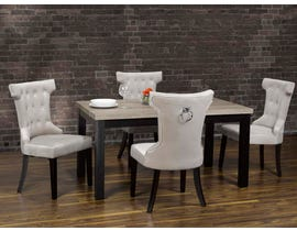 K-Living Deborah 5pc Set Wood Top And Espresso Finished Legs Dining Table With Fabric Dining Chairs In Grey MIL113-GR