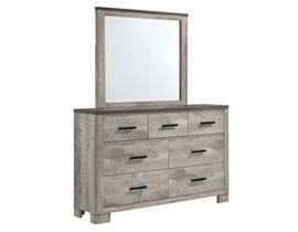 High Society Millers Cove Series Dresser and Mirror Set in Weathered Grey MC300