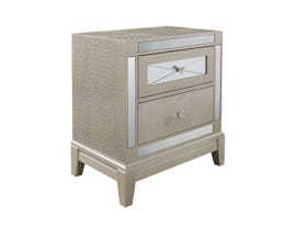 Global Furniture Textured Champagne Mirror Nightstand