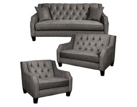 SBF Upholstery 3Pc Fabric Tufted Sofa Set in Fawn 2245