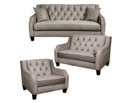 SBF Upholstery 3Pc Fabric Tufted Sofa Set in Latte 2245