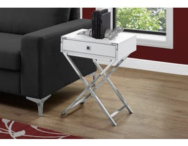 Monarch Chrome Accent Table in Glossy White 13550