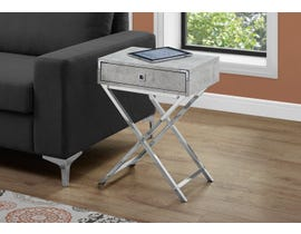Monarch Chrome Accent Table in Grey Cement 13551