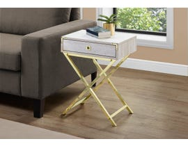 Monarch Gold Metal Accent Table in Beige Marble 13553