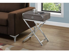 Monarch Chrome Accent Table in Dark Taupe 13555