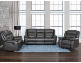 Primo Montana Series 3pc Leather Match Power Reclining Sofa Set in Cement Grey 482