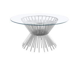 Lotus Collection Metal Coffee Table in Silver 7920