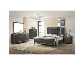 High Society Moonstone Series 6pc Queen Bedroom Set with LED in Black/Copper MN600