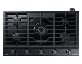 "Samsung 36"" Chef Collection Gas Cooktop in Black Stainless Steel NA36N9755TM"
