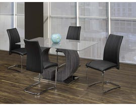 Kwality Furniture Napa Collection 5-Piece Glass Dinette with Black Chairs T-324