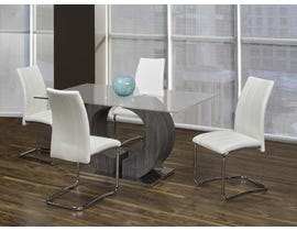 Kwality Furniture Napa Collection 5-Piece Glass Dinette with White Chairs T-324