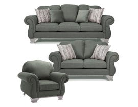 Decor-Rest 3pc Fabric Sofa Set in Nation Charcoal 6933