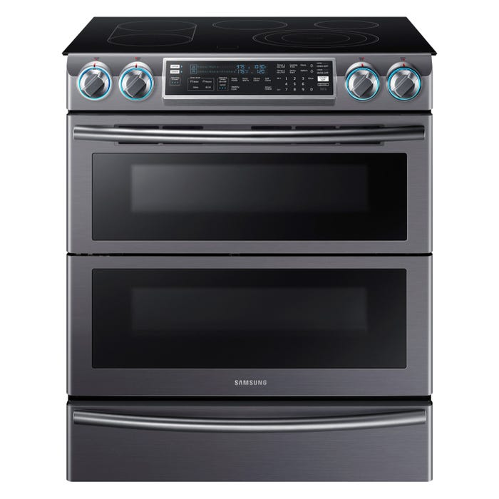 Samsung 30 inch 5.8 cu.ft. Electric Range with Flex Duo in black stainless NE58K9850WG