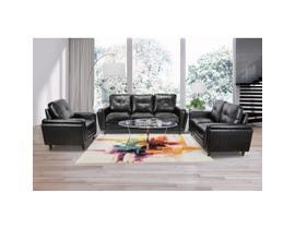 Mazin 3-Piece Leather Gel Sofa Set in Black 9083