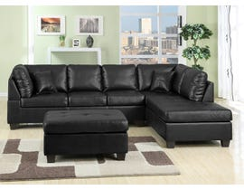 New Jersey Series 2pc Leather Look Sectional in Black