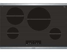 Bosch 30 inch Smooth Top Induction Cooktop 800 series in black with stainless steel strips  NIT8068SUC