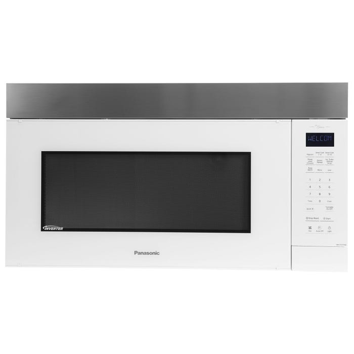 Panasonic 30 inch 2 cu. ft. Genius Prestige Plus Over-The-Range microwave in White/Stainless Steel NNST27HW