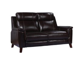 Amalfi Nora Series Leather Power Reclining Loveseat in Two Tone Dark Brown 9800