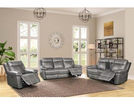 Amalfi Home Furniture 3pc Leather Reclining Sofa Set in Starry Grey