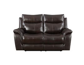 High Society Nova Leather Power reclining loveseat Dark Brown UNAXX