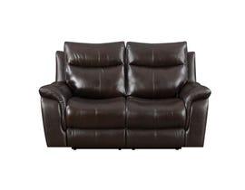 High Society Nova Leather Power reclining loveseat Dark Brown UNAXX