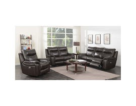 High Society Nova 3 Piece Leather Power Reclining Sofa Set Brown UNAXX