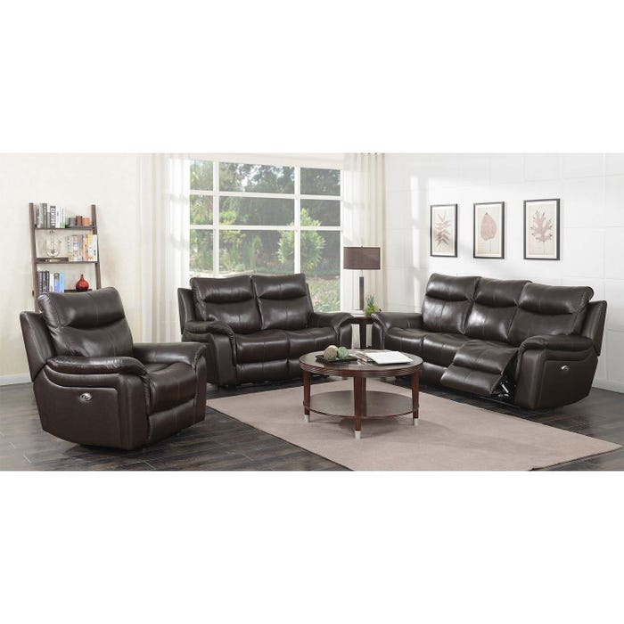 Surprising High Society Nova 3 Piece Leather Power Reclining Sofa Set Brown Unaxx Pdpeps Interior Chair Design Pdpepsorg